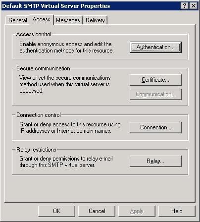 Default SMTP Virtual Server Properties